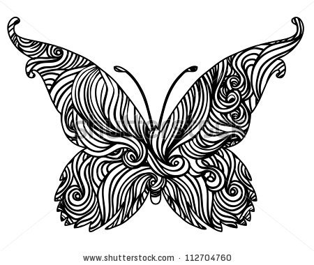 Abstract Delicate Black White Vector Butterfly Stock Vector.