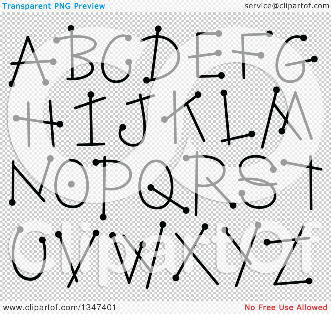 Clipart of a Black and White Doodle Dotty Stick Capital Alphabet.