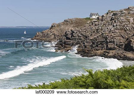 Stock Photograph of France, Bretagne, Douarnenez, House at rocky.