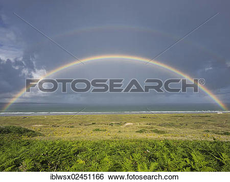 """Stock Images of """"Rainbow over the Bay of Douarnenez, Finistere."""
