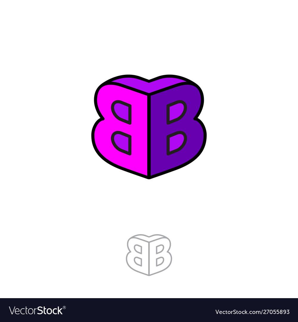 Double b logo two letters volume figure building.