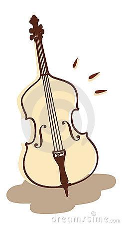 Double Bass Cartoon Clip Art Stock Vector.