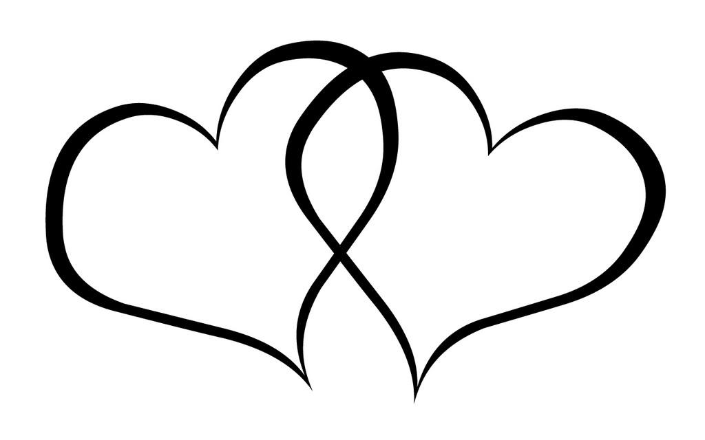 Double hearts clip art.