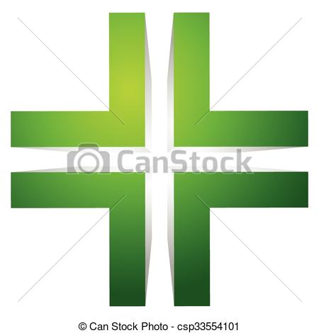 Vector Clipart of Generic 3d cross icon, double cross design.