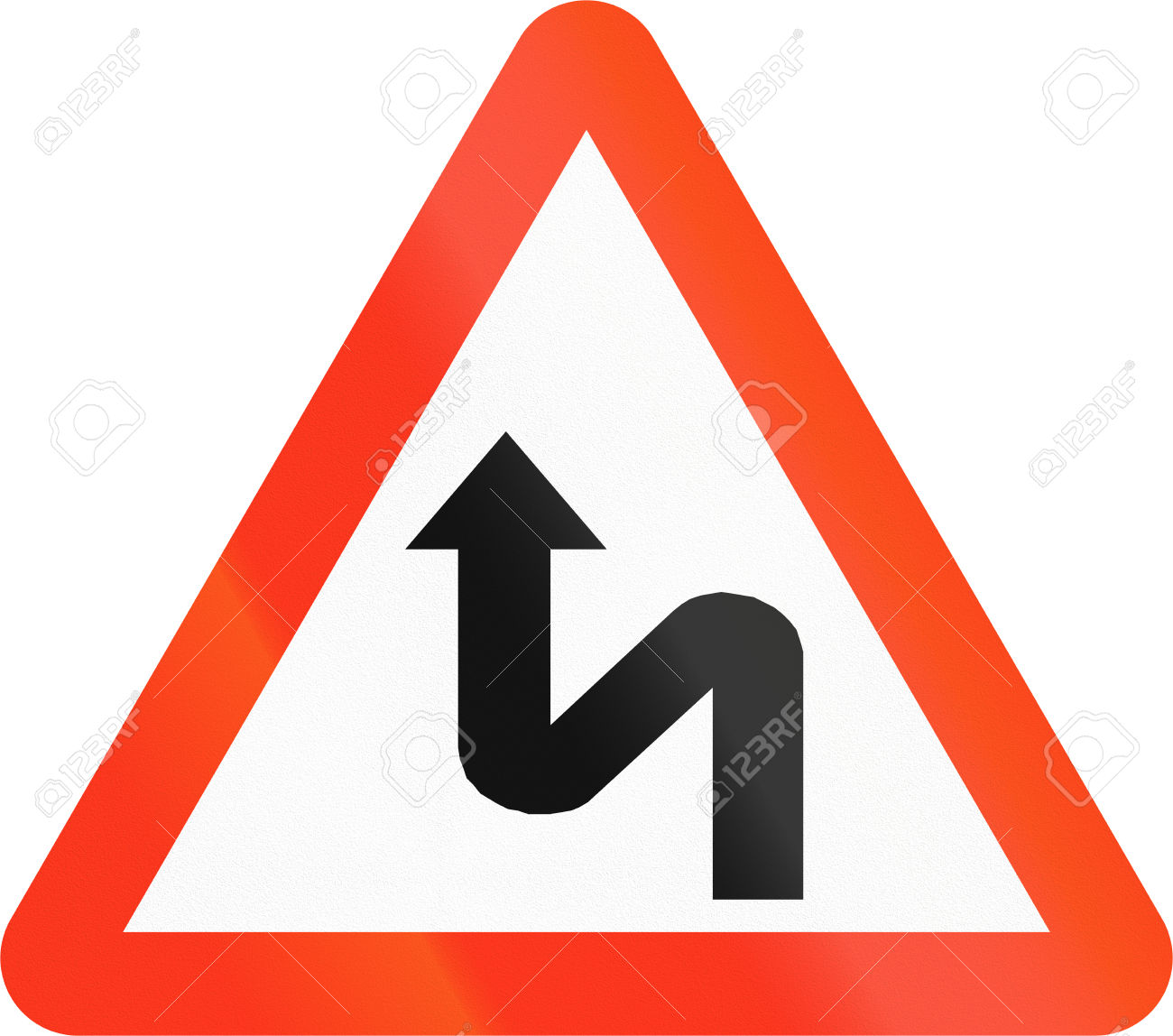 Bangladeshi Sign Warning About A Double Curve First To Left. Stock.