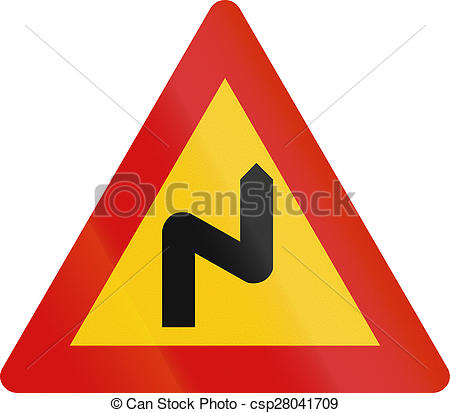 Stock Photography of Double Curve First To Right in Iceland.