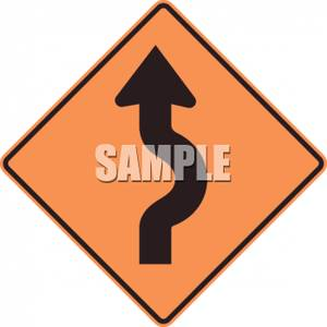 Double Reverse Curve Road Caution Sign.