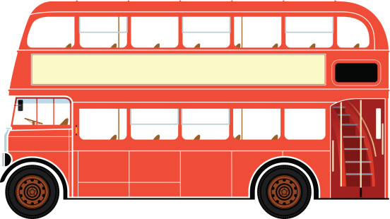 Red double decker bus clipart.