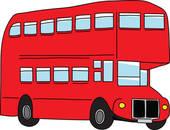 Clipart of Double Decker red bus. Tourist coach. Vector.