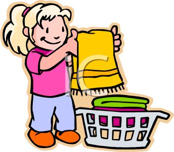 Little Girl Folding Clean Towels.