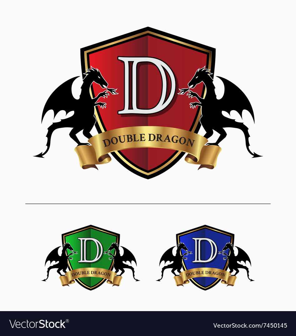 Double dragon crest logo.