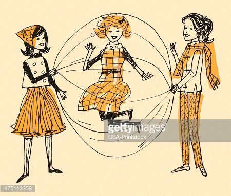 Girls Playing Double Dutch Jump Rope Clipart Image.
