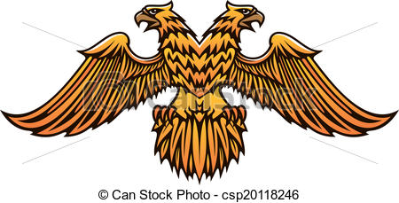 EPS Vector of Double headed golden Imperial eagle with fierce.