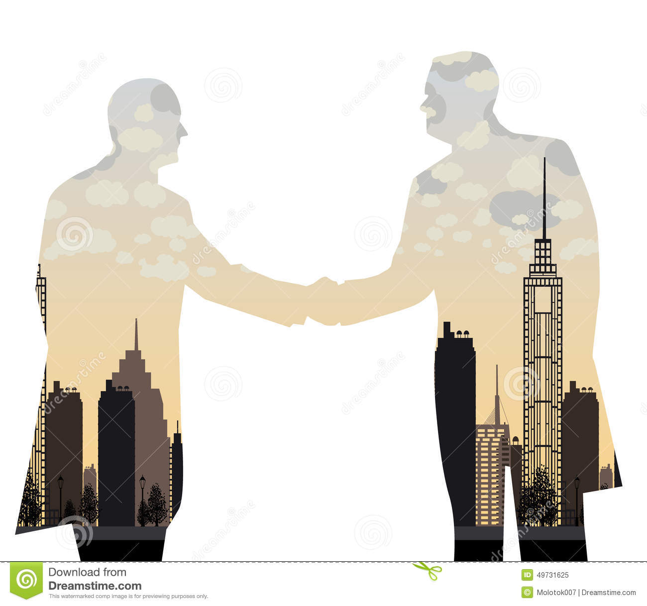 Double Exposure Handshake Businessman On City Background Stock.