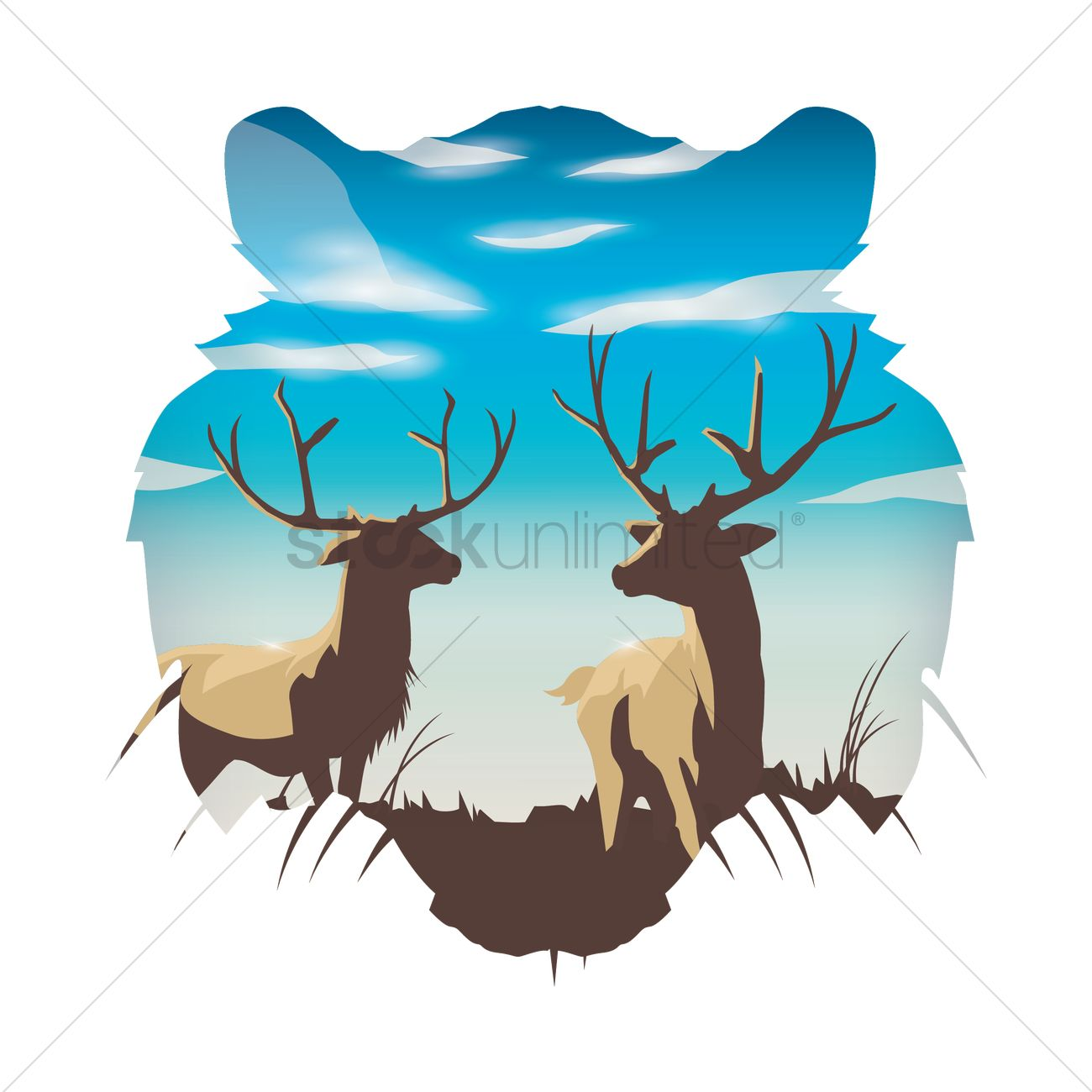 Double exposure of tiger and deers Vector Image.