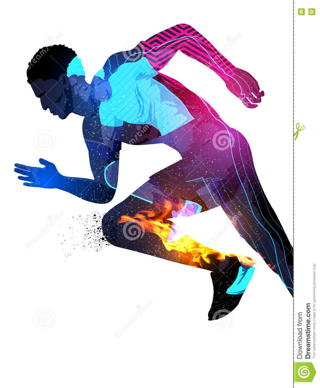 Double Exposure Running Man Stock Vector.