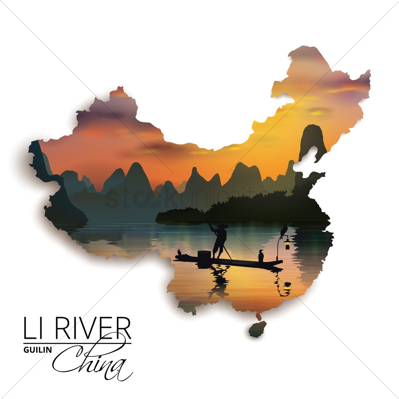 Double exposure of china map and li river Vector Image.