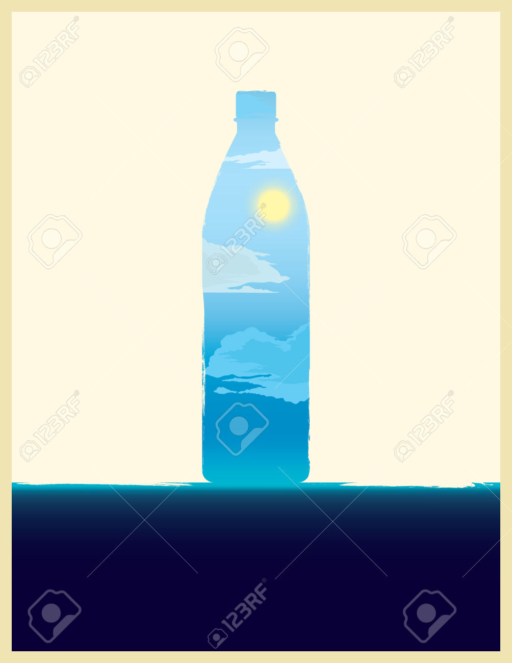 Water Bottle Illustration With Double Exposure Effect. Royalty.