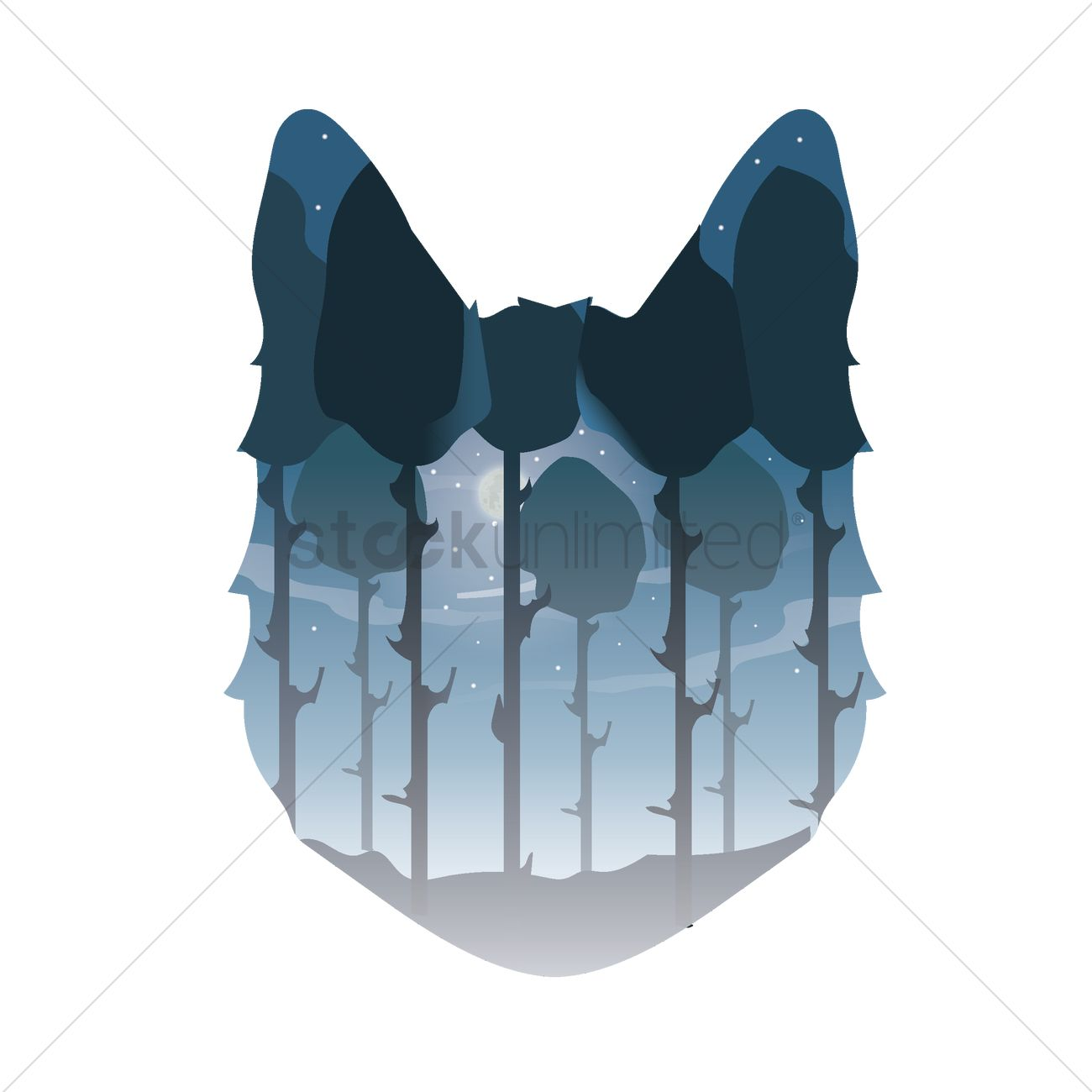Double exposure wolf and forest Vector Image.