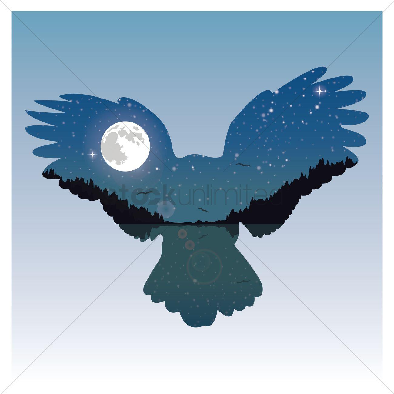 Double exposure bird and night sky Vector Image.