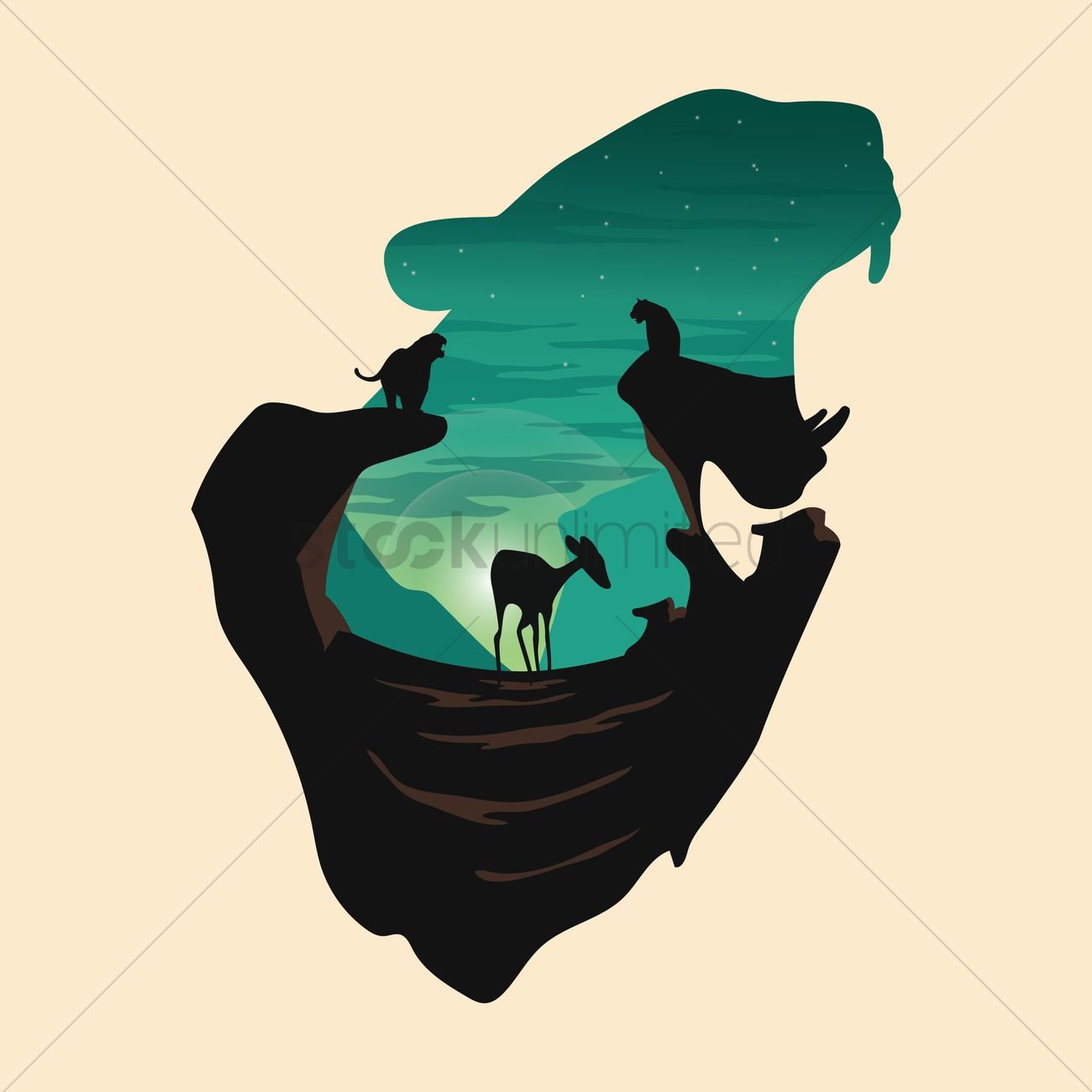 Double exposure leopard and forest Vector Image.