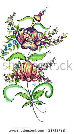 Creative Workdouble Flowers Stock Illustration 23738788.
