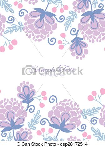 Vector Clip Art of Vector soft purple flowers vertical double.