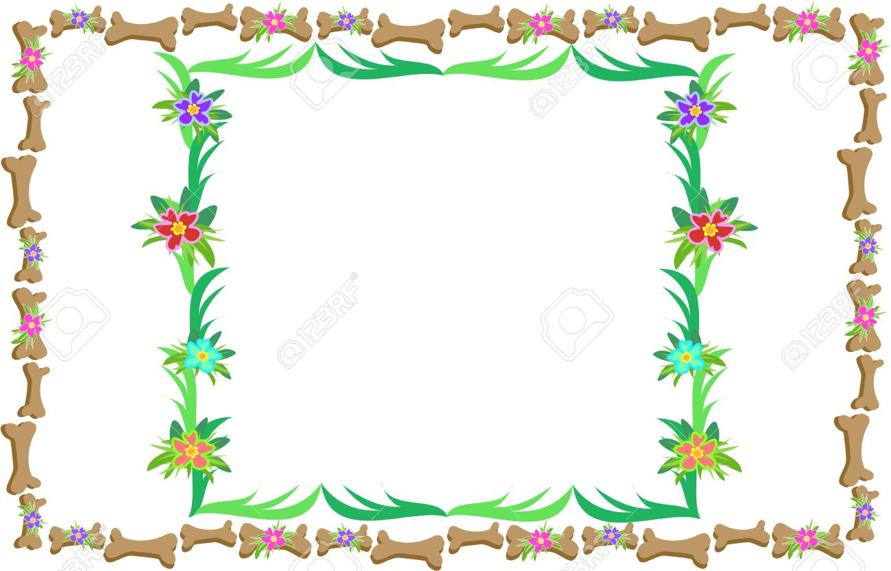 Double Frames Of Bones, Leaves, And Flowers Royalty Free Cliparts.