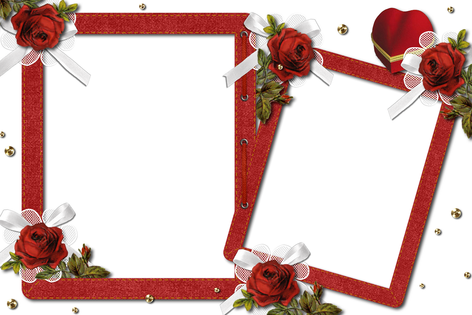 Double Romantic Transparent Photo Frame with Roses.
