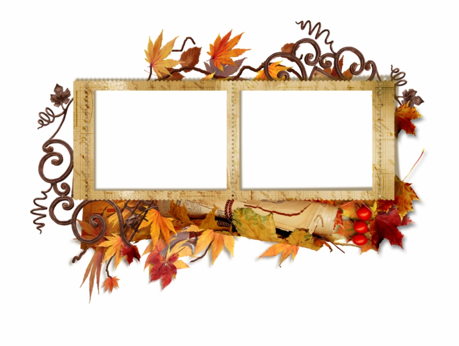 Double Transparent Autumn Frame Wedding Photo Frame Png.