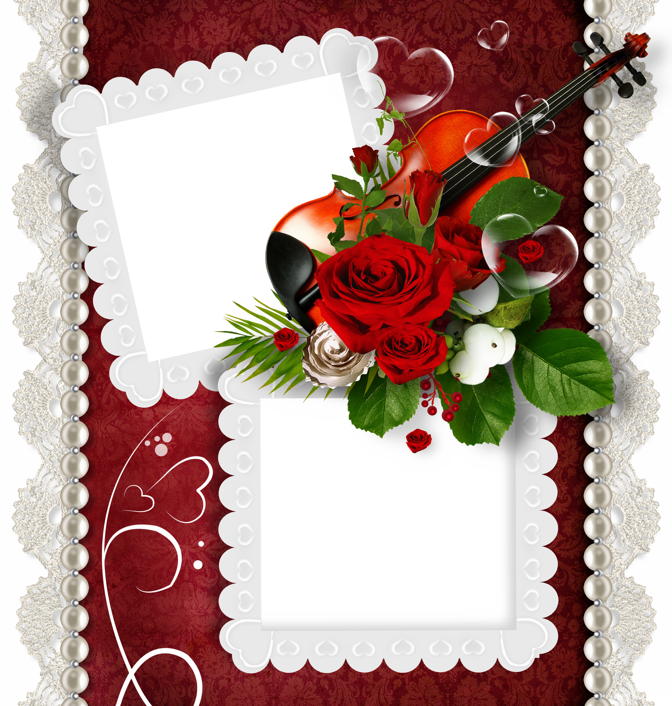 Romantic Double Transparent PNG Frame with Violin and Rose.