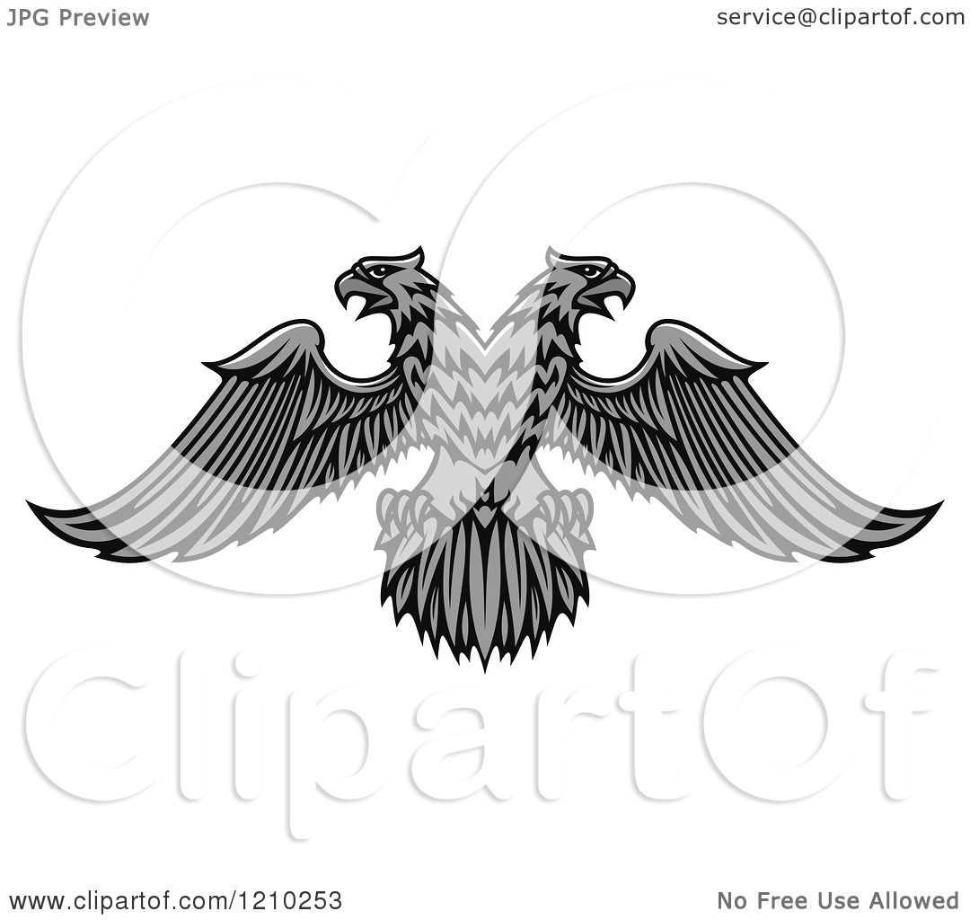 Clipart of a Grayscale Heraldic Double Headed Eagle.