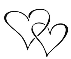 Double Heart Clipart Black And.