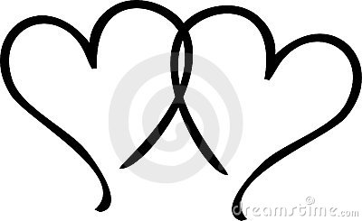 Black and white double heart clipart.