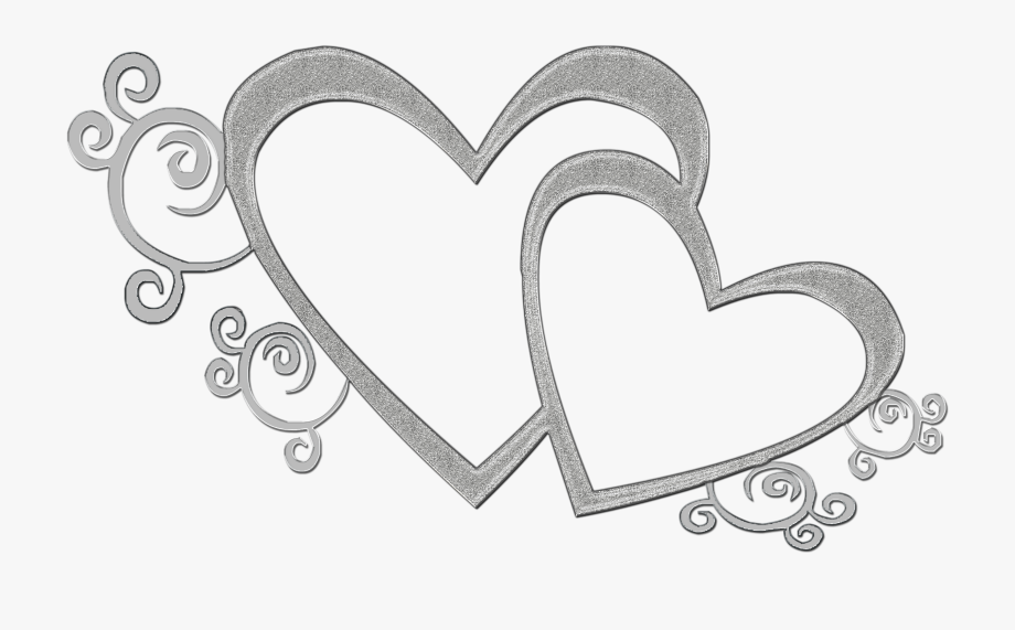 Double Heart Clipart Black And White Transparent.