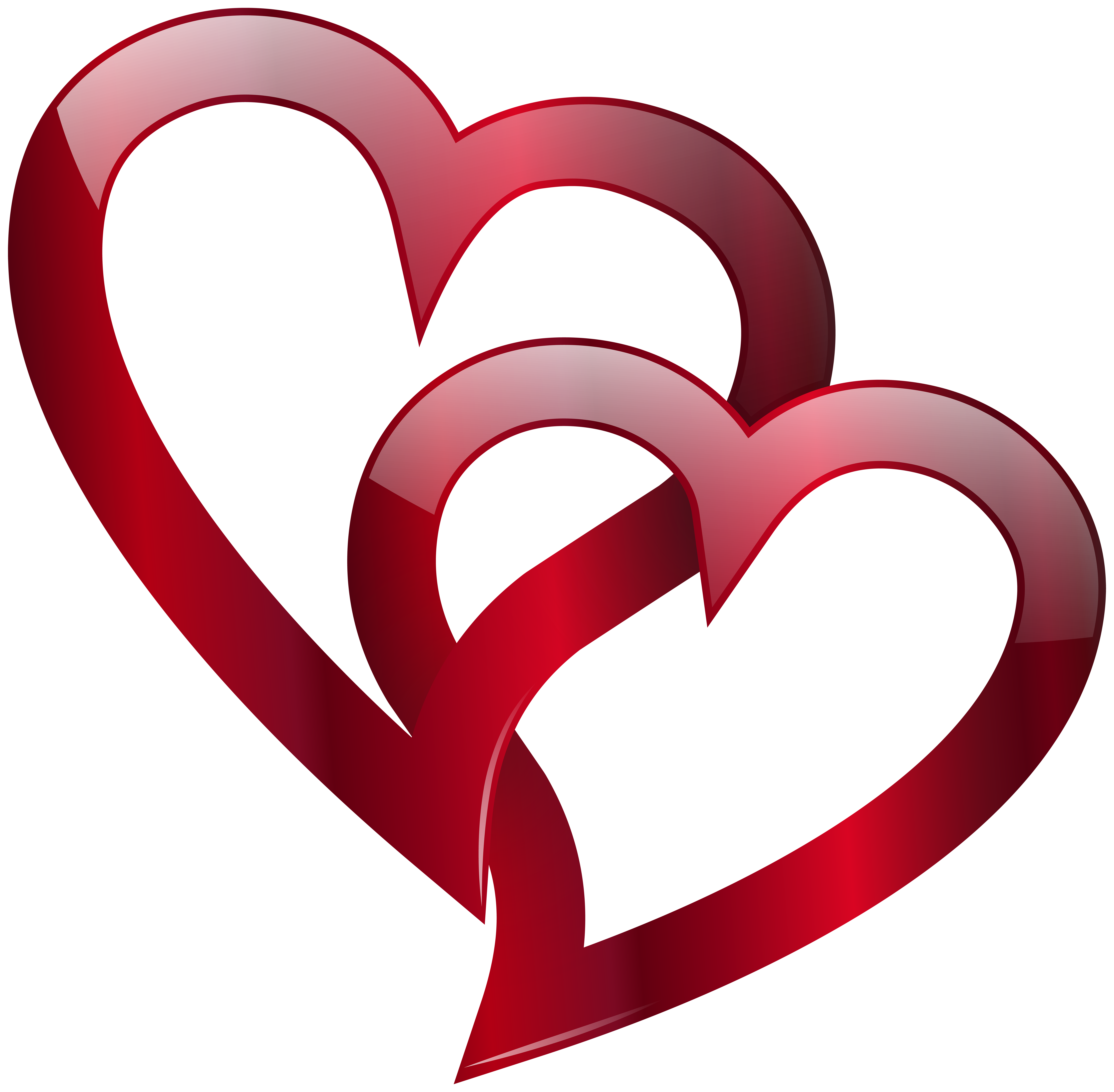 Red Double Heart PNG Clip Art Image.