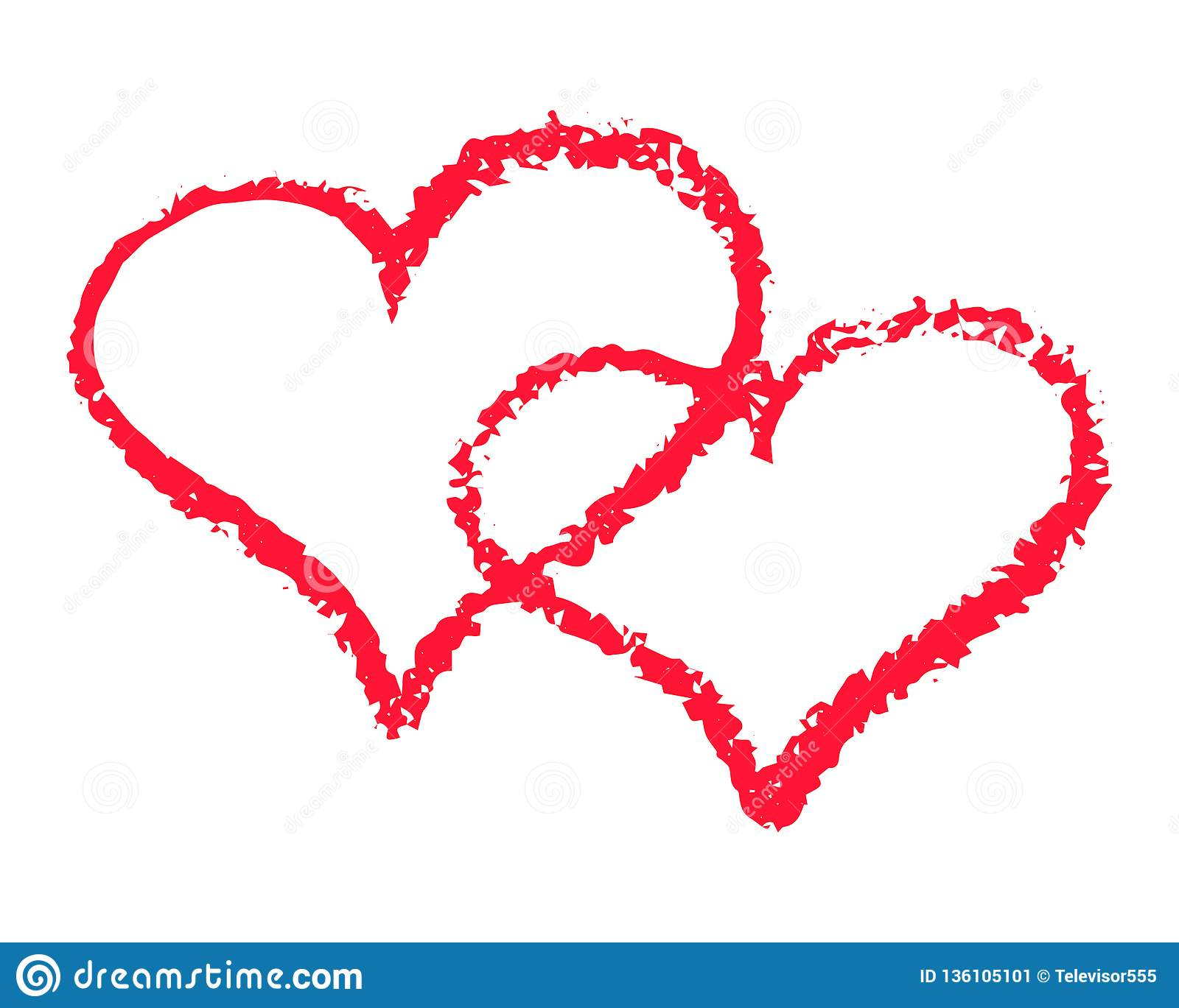 Two Red Hearts Outline Vector Illustration On White Background. St.