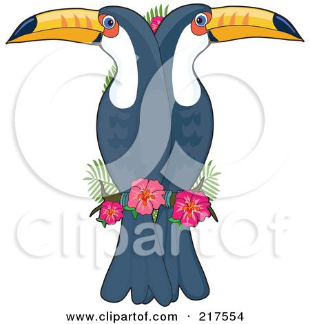 Clipart of a Retro Cartoon Victorious Hornbill or Bucerotidae Bird.