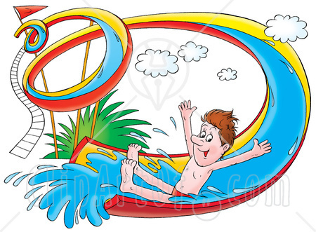 Cartoon clipart double lane water slide.