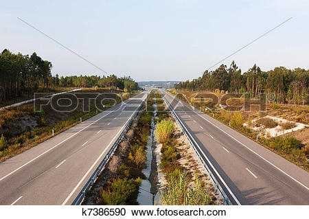 Stock Photography of Above view of double lane highway in Portugal.