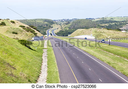 Stock Image of Double Lane Highway with Off Ramp and On Ramp.