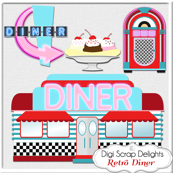 50s Diner Sign Clipart.