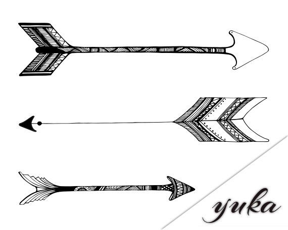 Double side tribal arrow clipart.