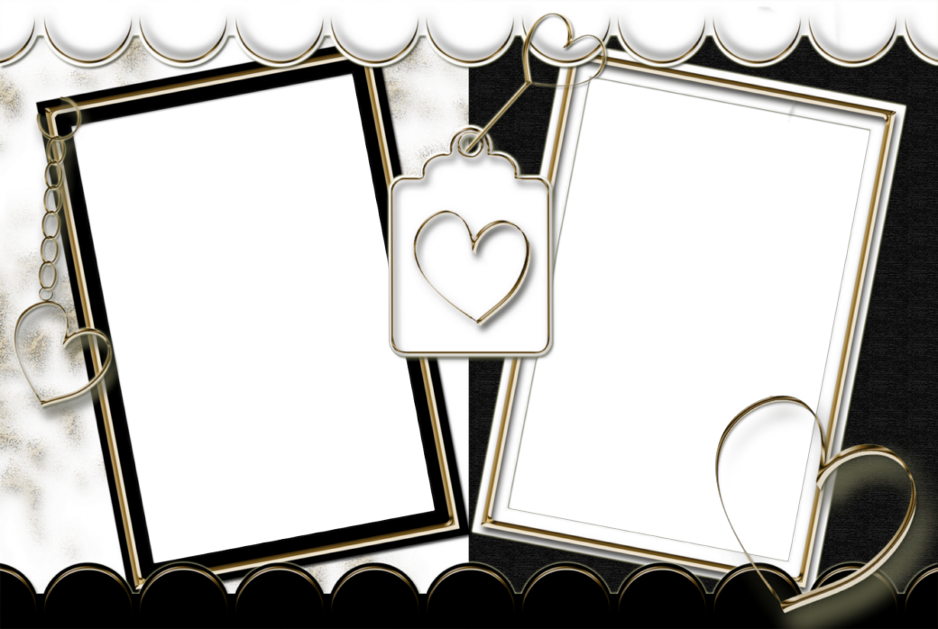 Double Transparent Frame Black and White with Hearts.