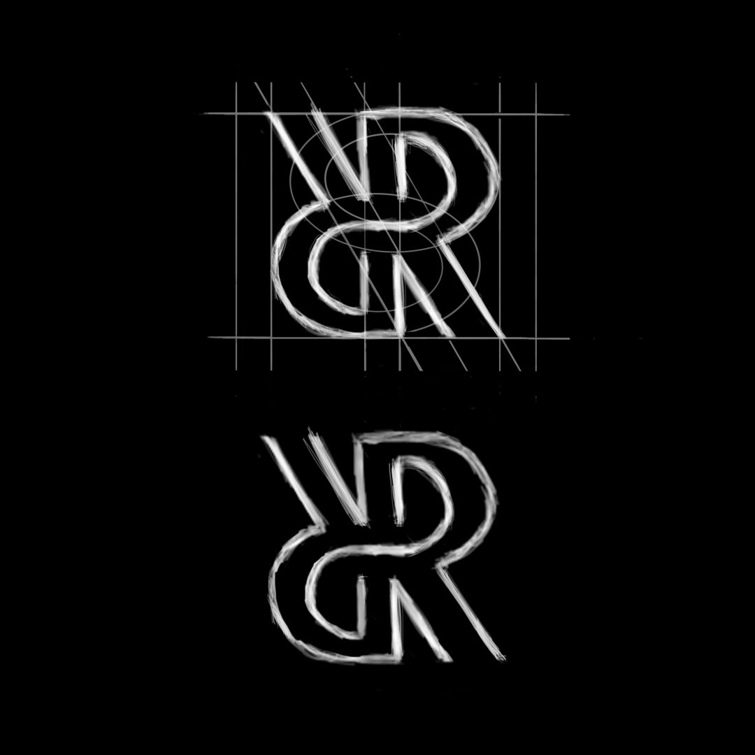 Double R Letter Monogram Style Sketch and Grid Structure @by.