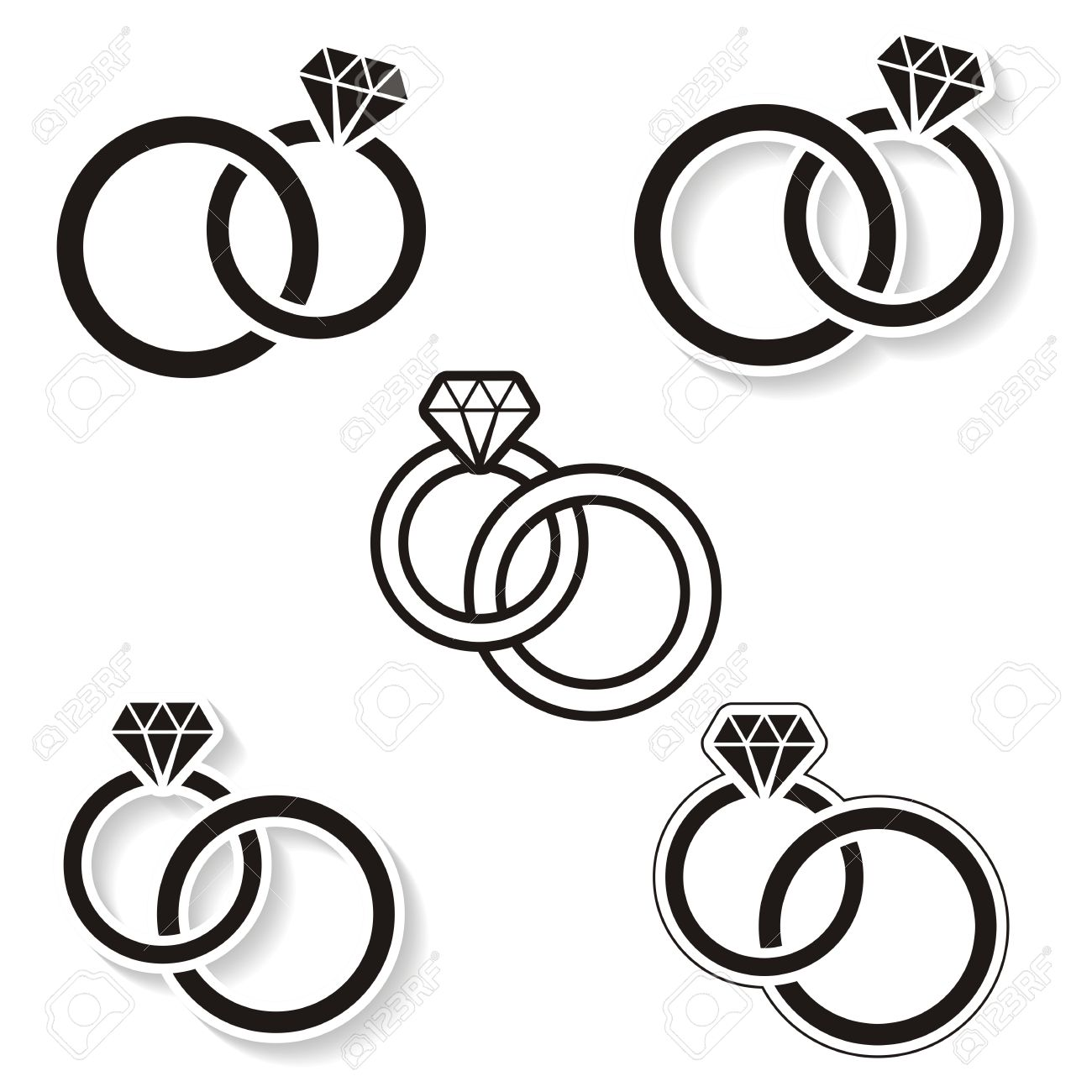 Free Wedding Rings Clipart Black and White Best Black & White, The.