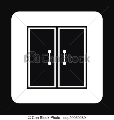 Vector of Double door icon, simple style.