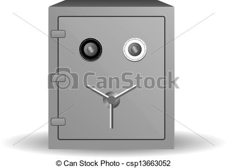 Clipart Vector of Double lock safe icon isolated on white.
