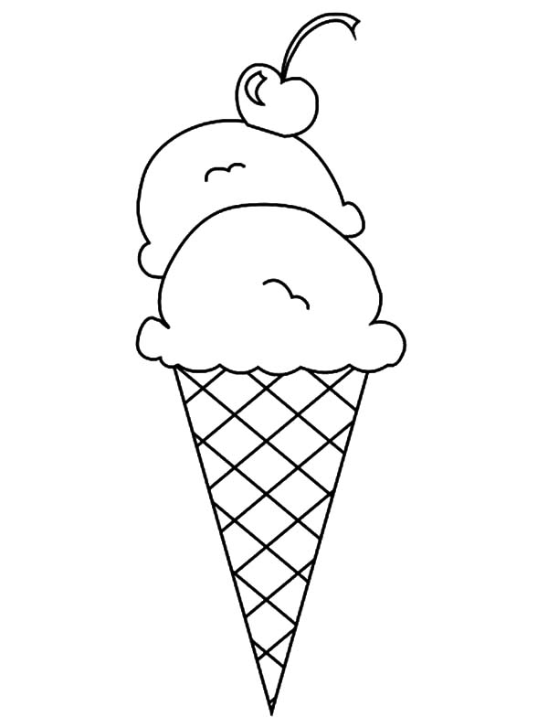 Scoop Ice Cream Coloring, double scoop ice cream cone.