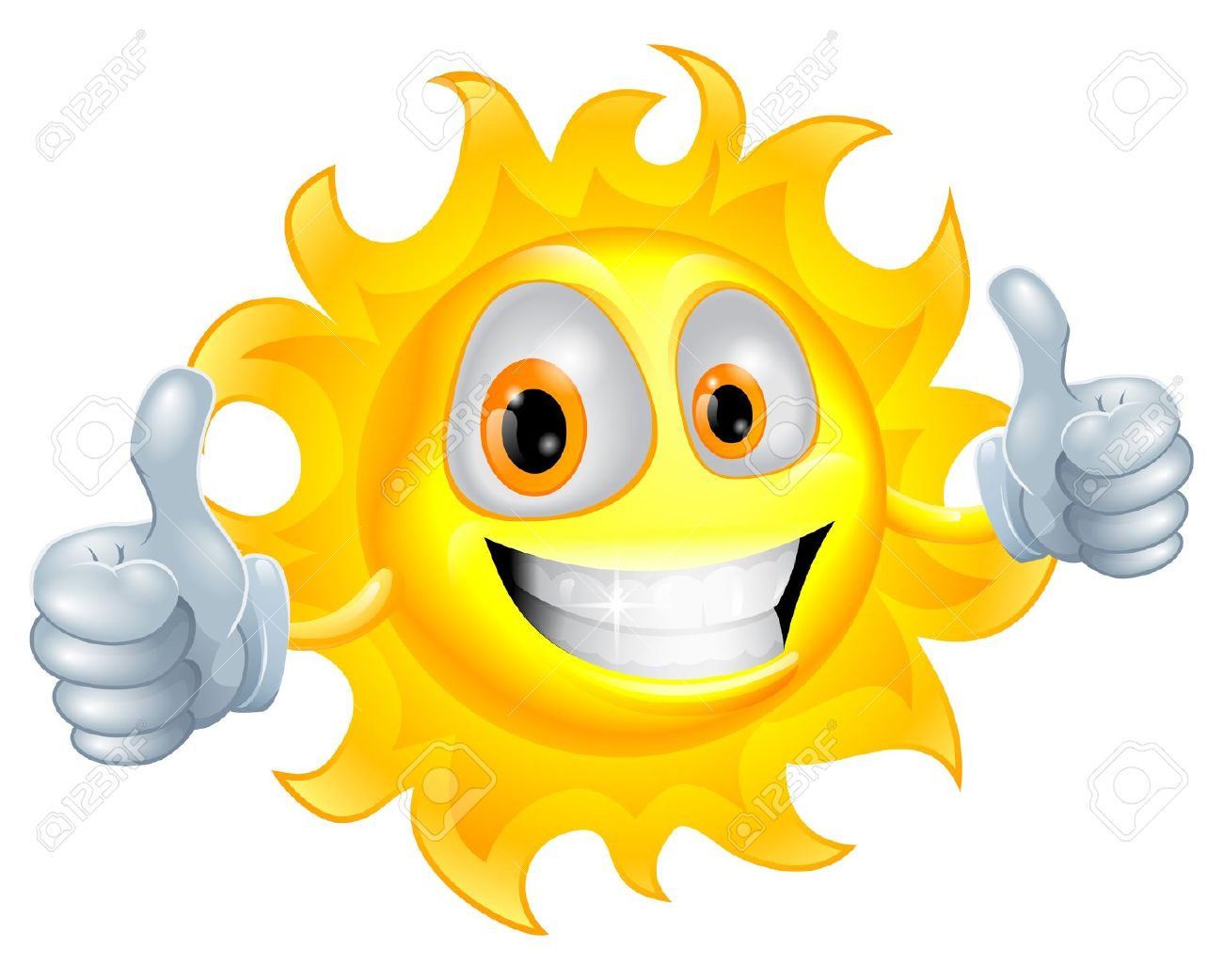 A Sun Cartoon Mascot Giving A Double Thumbs Up Royalty Free.